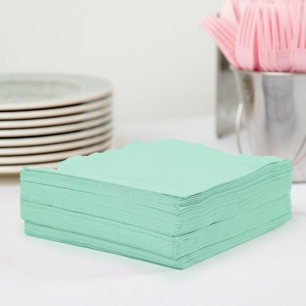 Creative Converting 318887 Fresh Mint Green 3-Ply 1/4 Fold Luncheon Napkin - 50/Pack