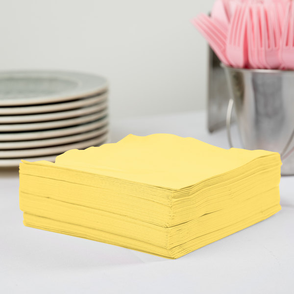 Creative Converting 58102B Mimosa Yellow 3-Ply 1/4 Fold Luncheon Napkin - 50/Pack
