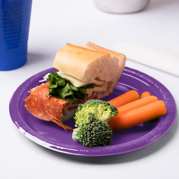 "Creative Converting 318916 7"" Amethyst Purple Plastic Plate - 20/Pack"