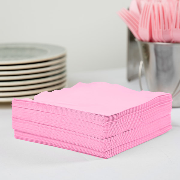 Creative Converting 583042B Candy Pink 3-Ply 1/4 Fold Luncheon Napkin - 50/Pack
