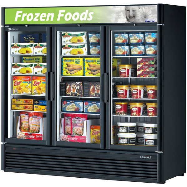 "Turbo Air TGF-72SDB-N Black 78"" Super Deluxe Glass Door Merchandising Freezer Main Image 1"