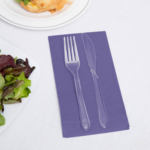 Creative Converting 95115 Purple 3-Ply Guest Towel / Buffet Napkin - 16/Pack