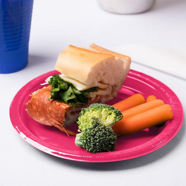 "Creative Converting 28177011 7"" Hot Magenta Pink Plastic Plate - 20/Pack"