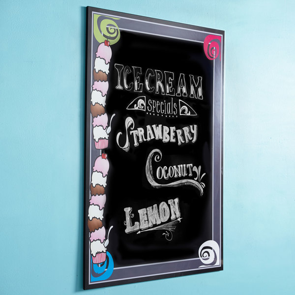 "24"" x 36"" Black Marker Board with Ice Cream Graphic RMV-2436-IC"