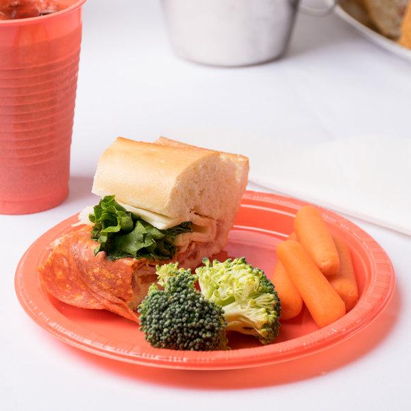 "Creative Converting 28314611 7"" Coral Orange Plastic Plate - 20/Pack"