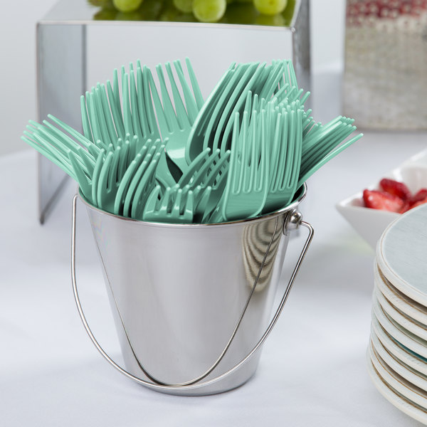 """Creative Converting 318869 7 1/8"""" Fresh Mint Green Heavy Weight Plastic Fork - 24/Pack"""