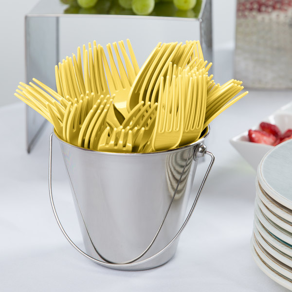 """Creative Converting 010472 7 1/8"""" Mimosa Yellow Heavy Weight Plastic Fork - 24/Pack"""