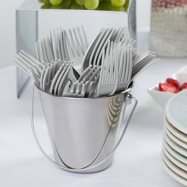 """Creative Converting 010469B 7 1/8"""" Shimmering Silver Heavy Weight Plastic Fork - 50/Pack"""