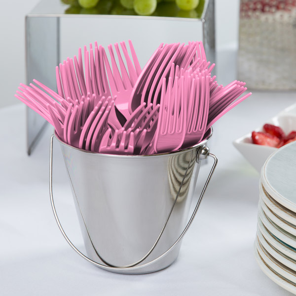 """Creative Converting 011347B 7 1/8"""" Candy Pink Heavy Weight Plastic Fork - 50/Pack"""