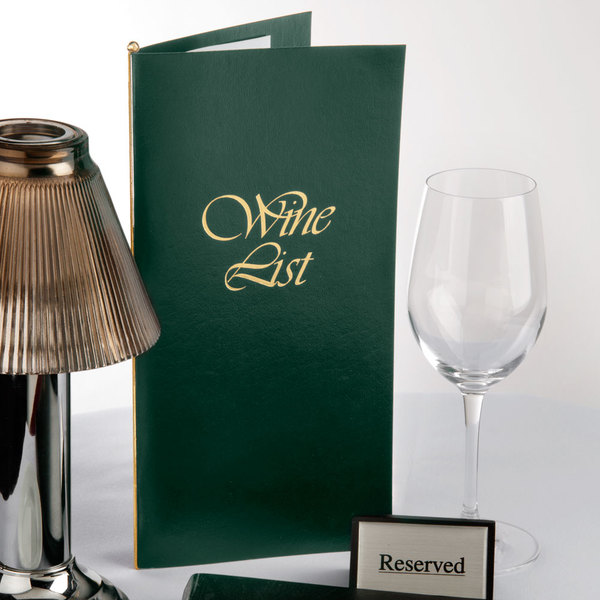 "Menu Solutions L702C 5 1/2"" x 11"" Green Wine List Cover Main Image 7"