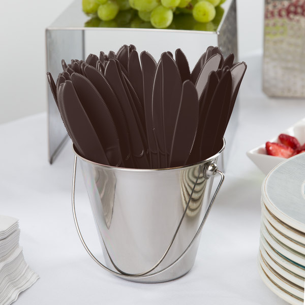 """Creative Converting 010384 7 1/2"""" Chocolate Brown Heavy Weight Plastic Knife - 24/Pack"""