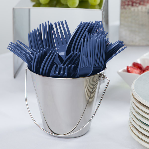 """Creative Converting 010601B 7 1/8"""" Navy Heavy Weight Plastic Fork - 50/Pack"""