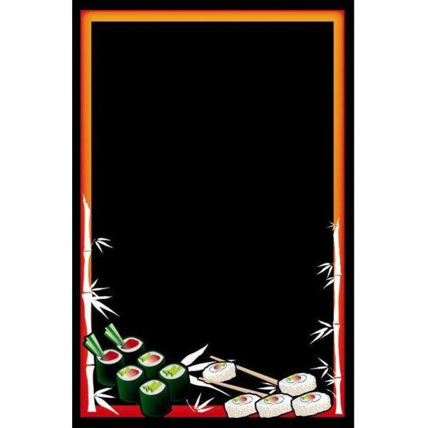 "24"" x 36"" Black Marker Board with Sushi Graphic RMV-2436-S"