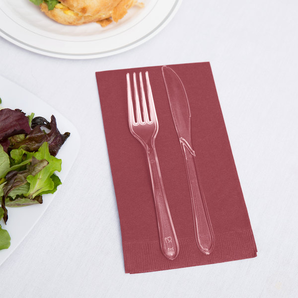 Creative Converting 953122 Burgundy 3-Ply Guest Towel / Buffet Napkin - 16/Pack
