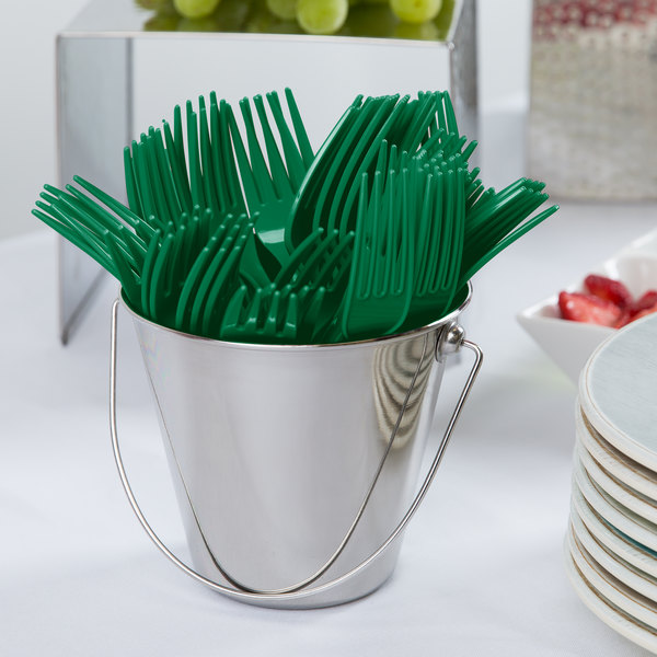 "Creative Converting 010474B 7 1/8"" Emerald Green Heavy Weight Plastic Fork - 50/Pack"