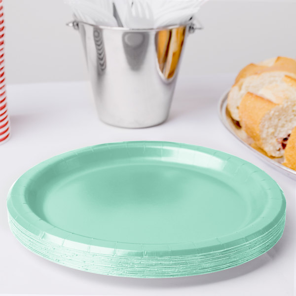 Creative Converting 318888 9  Fresh Mint Green Round Paper Plate - 24/Pack & Creative Converting 318888 9