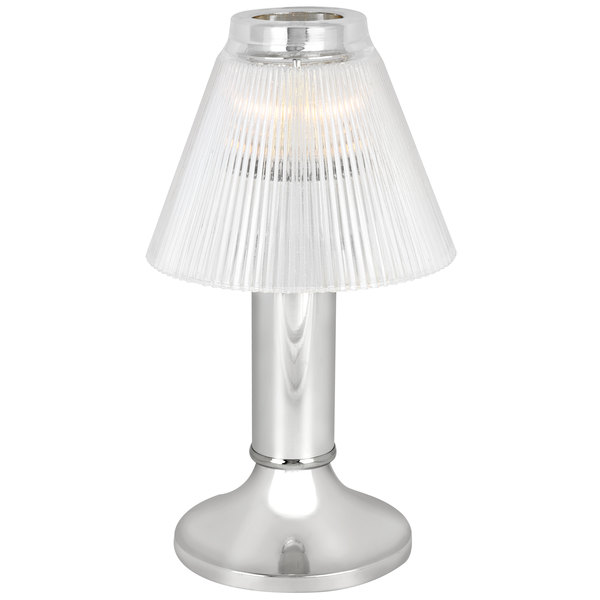 """Sterno Products 80478 10"""" Paige Chrome Lamp with Duchess Clear Shade"""
