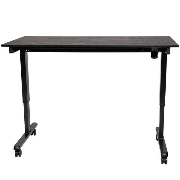 """Luxor STANDE-60-BK/BO Black Electric Adjustable Standing Desk with Black Steel Frame - 60"""""""