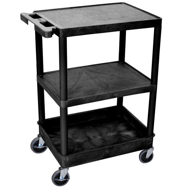 Luxor STC221-B Black 3 Shelf Utility Cart Main Image 1