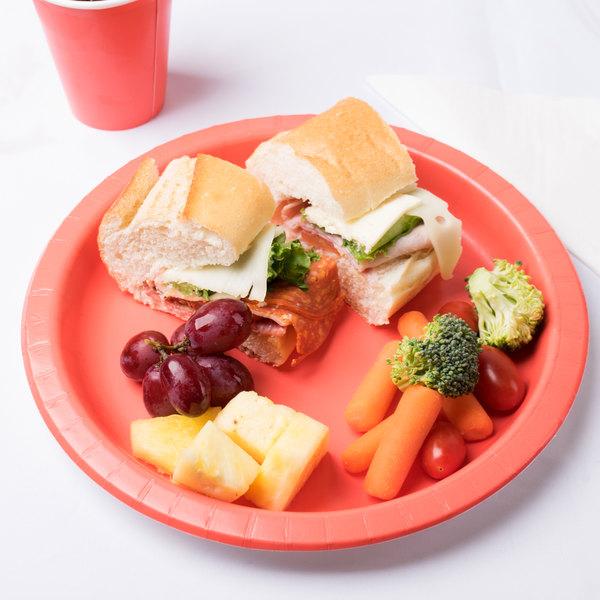 "Creative Converting 503146B 10"" Coral Orange Round Paper Plate - 24/Pack"