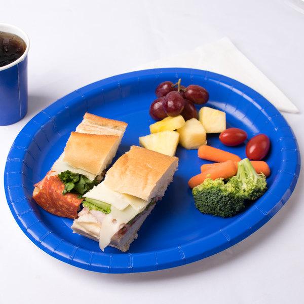 "Creative Converting 433147 12"" x 10"" Cobalt Blue Oval Paper Platter - 8/Pack"