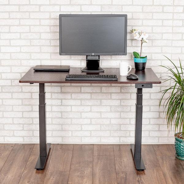 """Luxor STANDE-48-BK/DW Dark Walnut Electric Adjustable Standing Desk with Black Steel Frame - 48"""" Main Image 4"""