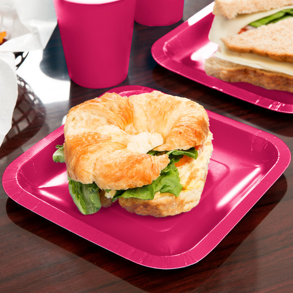 """Creative Converting 453277 7"""" Hot Magenta Pink Square Paper Plate - 18/Pack"""