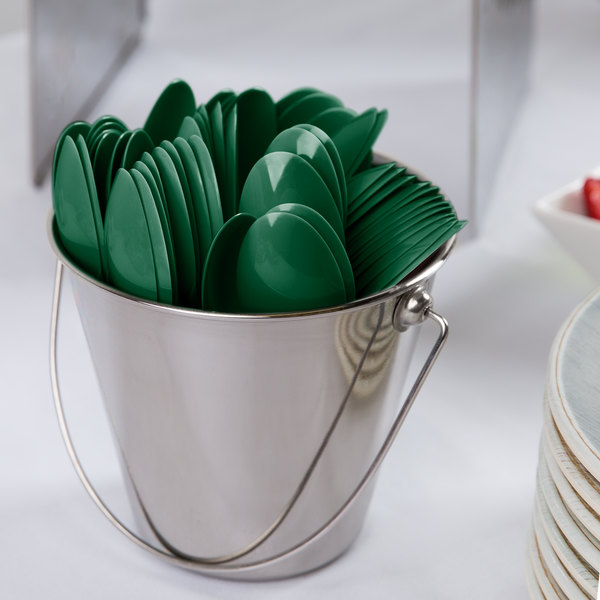"""Creative Converting 011924 6 1/8"""" Hunter Green Heavy Weight Plastic Spoon - 24/Pack"""