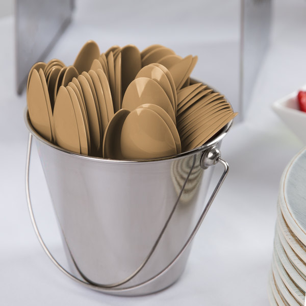 """Creative Converting 010589B 6 1/8"""" Glittering Gold Heavy Weight Plastic Spoon - 50/Pack"""