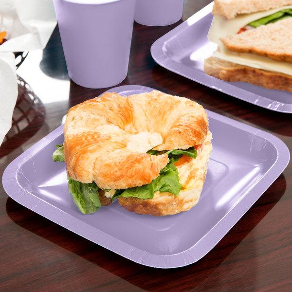 "Creative Converting 453265 7"" Luscious Lavender Purple Square Paper Plate - 18/Pack"