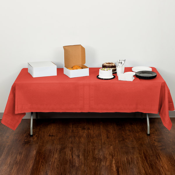 """Creative Converting 713146B 54"""" x 108"""" Coral Orange Tissue / Poly Table Cover"""