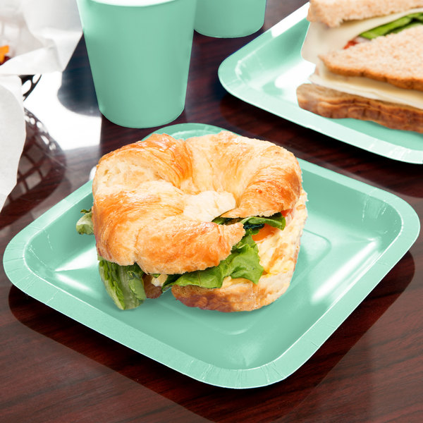 "Creative Converting 318879 7"" Fresh Mint Green Square Paper Plate - 18/Pack"