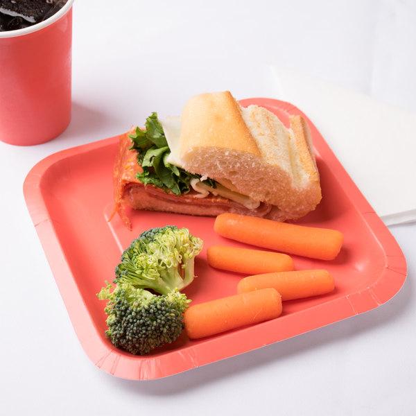 "Creative Converting 453146 7"" Coral Orange Square Paper Plate - 18/Pack"