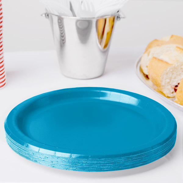 "Creative Converting 473131B 9"" Turquoise Blue Paper Plate - 24/Pack"