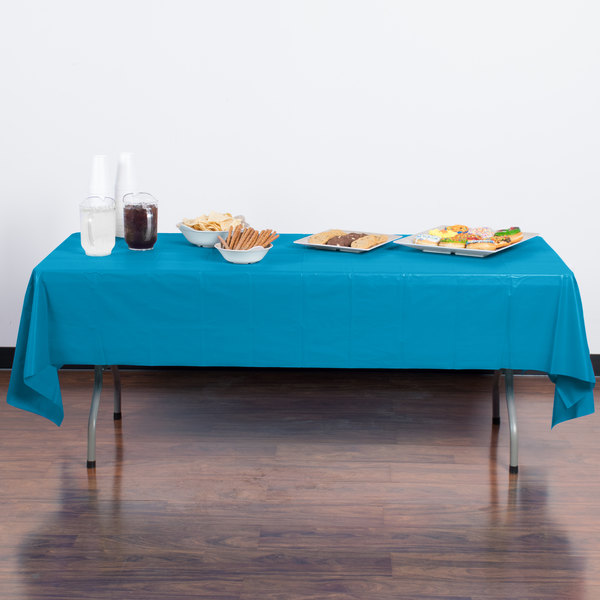 "Creative Converting 723131 54"" x 108"" Turquoise Blue Plastic Table Cover Main Image 3"