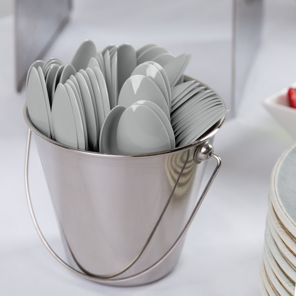 "Creative Converting 010587B 6 1/8"" Shimmering Silver Heavy Weight Plastic Spoon - 50/Pack"