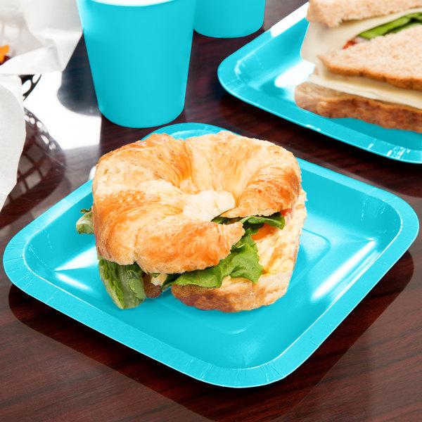 """Creative Converting 453552 7"""" Bermuda Blue Square Paper Plate - 18/Pack"""