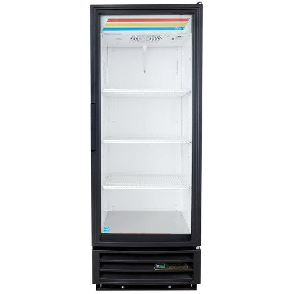 True GDM-12-LD Black Glass Door Refrigerated Merchandiser with LED Lighting