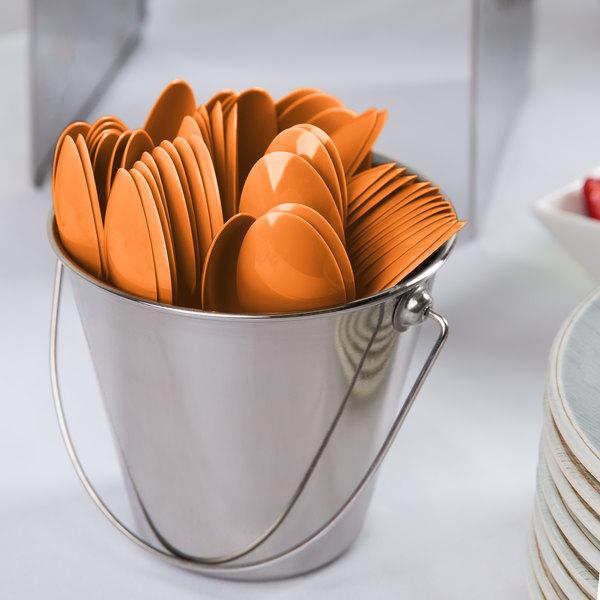 "Creative Converting 010615B 6 1/8"" Sunkissed Orange Heavy Weight Plastic Spoon - 50/Pack"