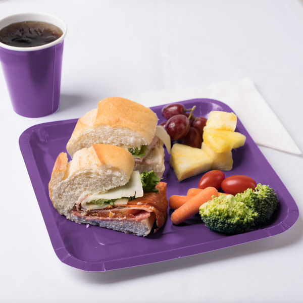 """Creative Converting 318925 9"""" Amethyst Purple Square Paper Plate - 18/Pack"""