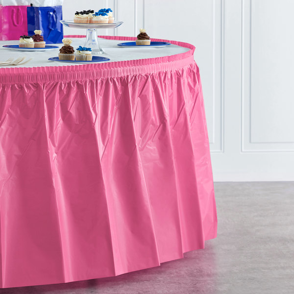 "Creative Converting 011345 14' x 29"" Candy Pink Plastic Table Skirt"
