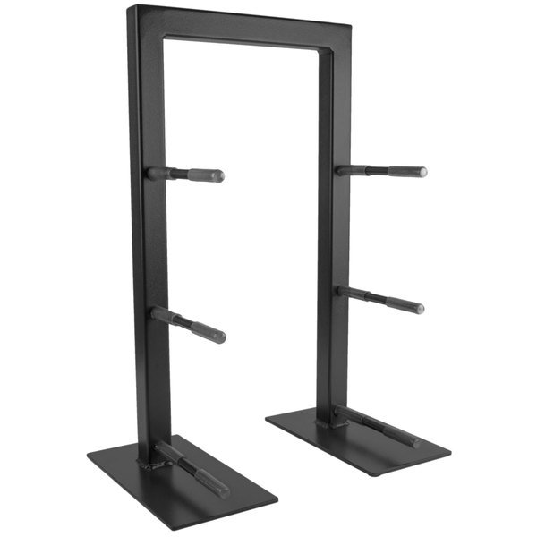 "Cal-Mil 1464-13 Black Three Tier Frame Stand - 18 1/4"" x 11"" x 25"""