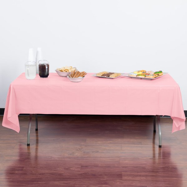 "Creative Converting 014016B 54"" x 108"" Classic Pink Disposable Plastic Table Cover"