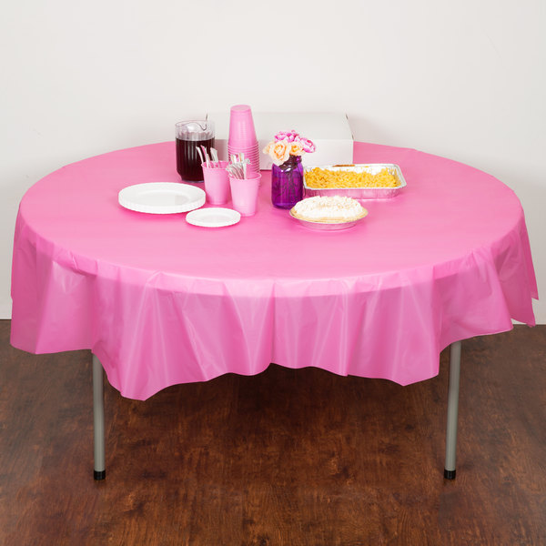 """Creative Converting 703042 82"""" Candy Pink OctyRound Plastic Table Cover - 12/Case Main Image 4"""