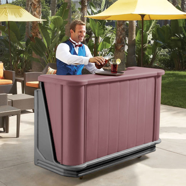 """Cambro BAR650PMT189 Two-Tone Brown Mahogany Cambar 67"""" Portable Bar with 7-Bottle Speed Rail and Complete Post Mix System with Water Tank"""