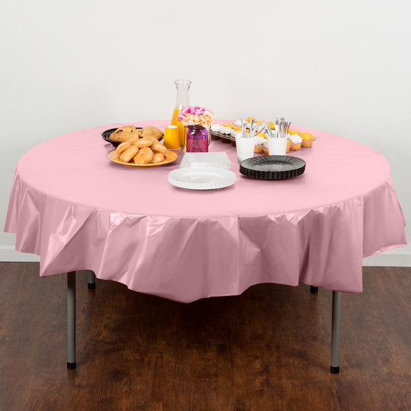 "Creative Converting 703274 82"" Classic Pink OctyRound Plastic Table Cover"