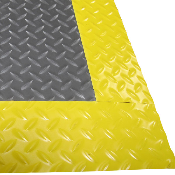"Cactus Mat 1053R-E375 Cushion Diamond-Dekplate 3' x 75' Gray Anti-Fatigue Mat Roll with Yellow Safety Edge - 9/16"" Thick"