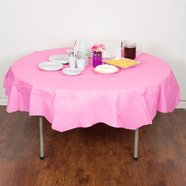 "Creative Converting 923042 82"" Candy Pink OctyRound Tissue / Poly Table Cover"