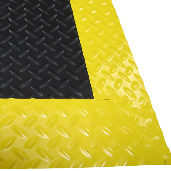 "Cactus Mat 1053R-C375 Cushion Diamond-Dekplate 3' x 75' Black Anti-Fatigue Mat Roll with Yellow Safety Edge - 9/16"" Thick Main Image 1"