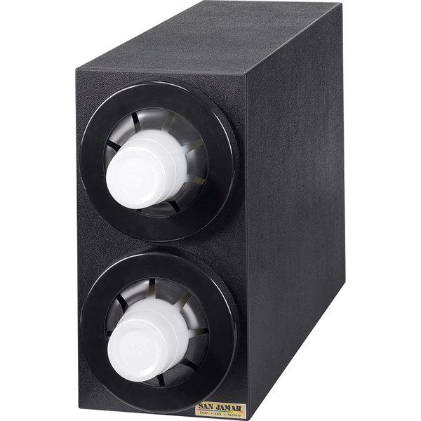 San Jamar C2952BK Sentry Countertop Cup Dispenser Black - Vertical Cabinet with 2 Tubes